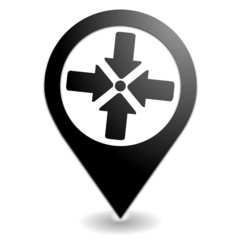 point de rassemblement sur symbole localisation noir