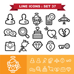 Love line icons set 37