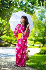 Beautiful young woman wearing japanese traditional Yukata