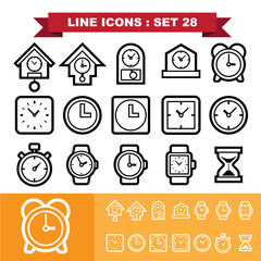 Clock line icons set 28