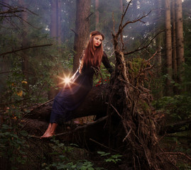Beautiful witch sitting on a tree trunk in the forest