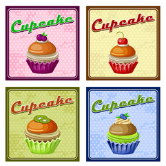 Set of four vintage posters cupcake. vector illustration