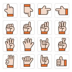 icon hand set vector