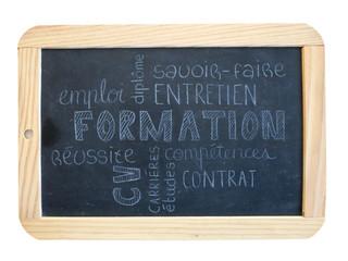 """Nuage de Tags """"FORMATION"""" sur ardoise (cv études compétences)"""