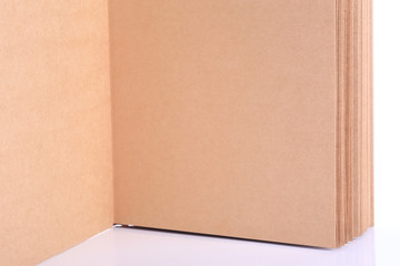 open book paper blank on white background