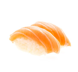 Salmon sushi isolated on white