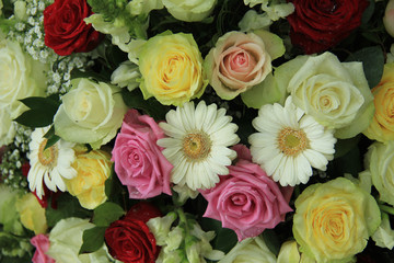 yellow, white and pink wedding flowers