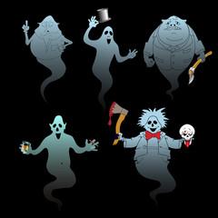 set of halloween ghost