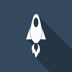 rocket icon with long shadow
