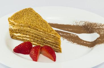 Медовый торт. Кусок