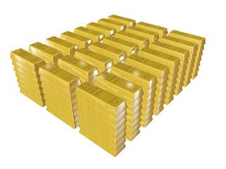 Lingots d'or sur fond blanc