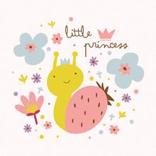 Petite illustration de princesse avec escargot et fleurs mignon.