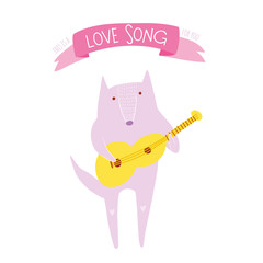 Cute concept illustration with wolf and guitar
