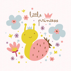 Little princess illustration with cute snail and flowers.