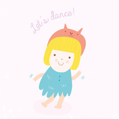 Cute dancing girl cartoon.