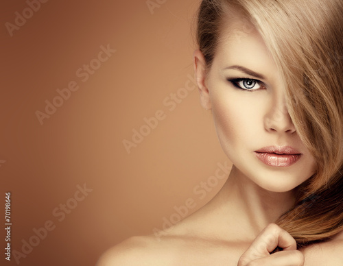 Poster Salon hairstyle model. Young woman with magnificent hair