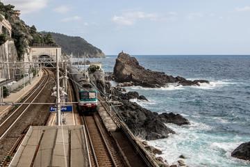 Framura railway station on the sea