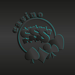 Casino Logo on a dark background, card suit