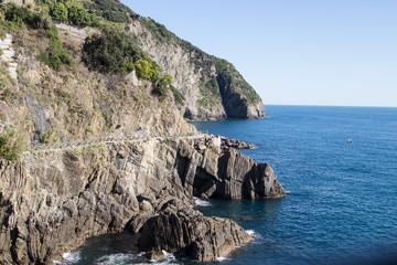 Cinque Terre Riomaggiore Coast on blue sea