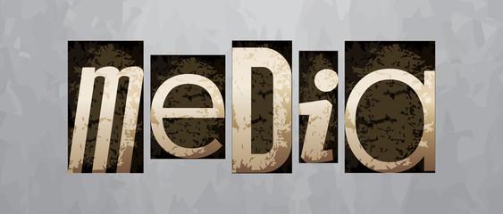 Vector media concept, vintage letterpress type