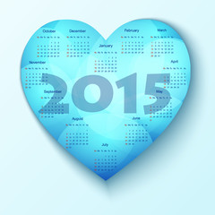 2015 Calendar Heart Design Template - Week Start With Sunday