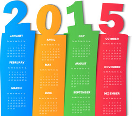 2015 Calendar Funny Paper Design - Week Start With Sunday