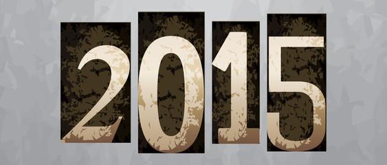 Vector 2015 year, vintage letterpress type