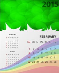 February 2015 Calendar - Include January and March 2015