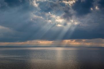 Sun rays and heavy sky
