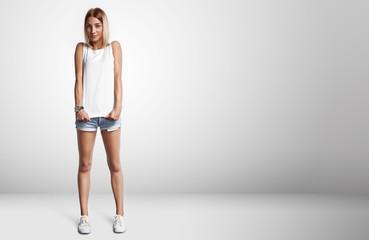 Young woman wearing blank t-shirt