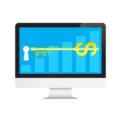 Key of Money Dollars in desktop computer