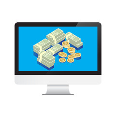 Money Dollars in desktop computer Isolate on White Background