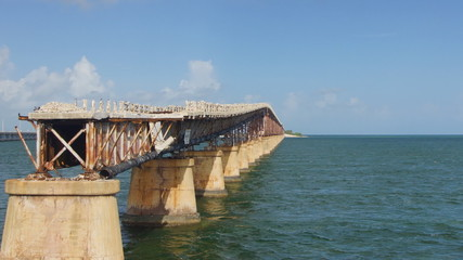Old bridge between islands in Florida, USA