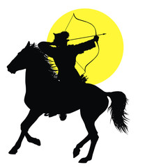 Medieval oriental horseman with bow . Vector silhouette