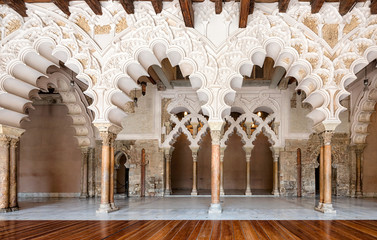 Arabic arches at Aljaferia Palace in Zaragoza, Spain