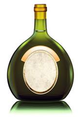 Boxbeutel, Rotßweinflasche aus Deutschland, freigestellt