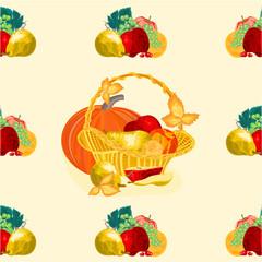 Seamless texure fruit basket healthy food vector