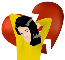 Woman is crying with broken heart background