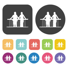 Couple on balconie icons. Balconie set. Round and rectangle colo