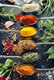 Fototapety Herbs and spices selection
