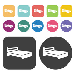 Bed icons. Bed mattress set. Round and rectangle colourful 12 bu