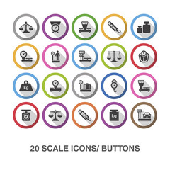 Scale flat icons/ buttons with shadow.