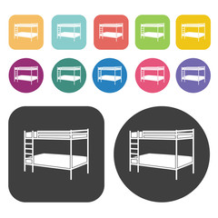 Bunk bed design icons. Bed mattress set. Round and rectangle col