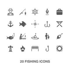 Fishing icons set.