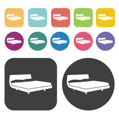 Hotel bed icons. Bed mattress set. Round and rectangle colourful