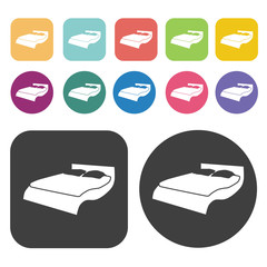 Unique bed icons. Bed mattress set. Round and rectangle colourfu