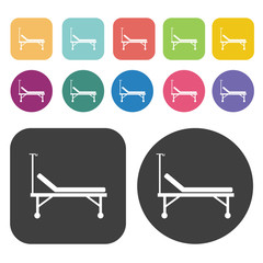 Hospital bed icons. Bed mattress set. Round and rectangle colour