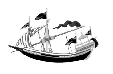 Osmanlı Kadırgası Gemi İllüstrasyonu