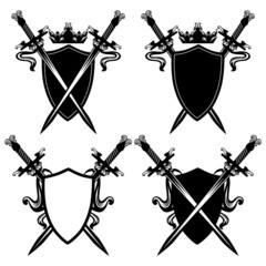 sword and shields black and white design