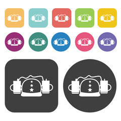 Hat and candles icons. Party beer set. Round and rectangle colou